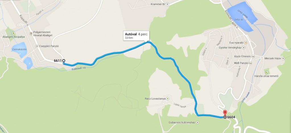 Az útvonal - a Google Maps szerint 4 perc alatt teszi meg ezt a távolságot szabályosan egy autó.