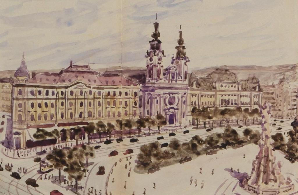 Részlet - 01 Gr. Széchenyi tér és a Szentháromság-szobor (jobbra a Mecsek)