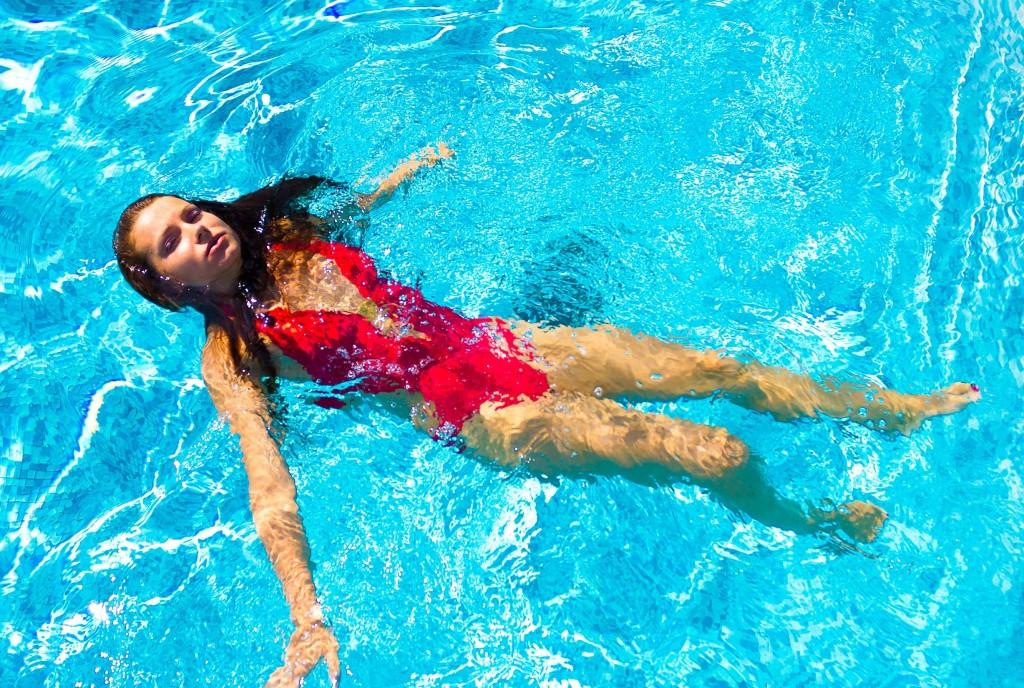 nő, strand, fürdés, víz, úszás, napozás