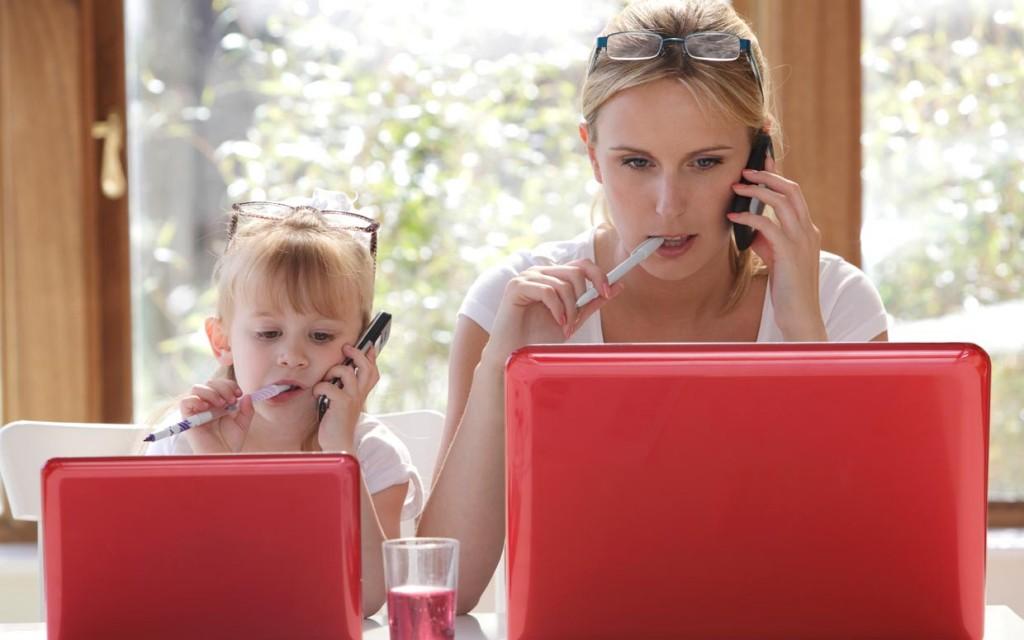 laptop, dolgozó nő, internet, gyerek, számítógép