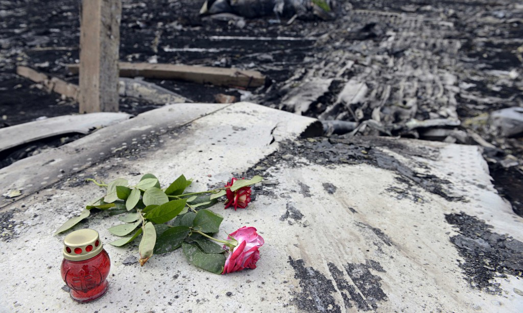 Flowers at the MH17 crash site