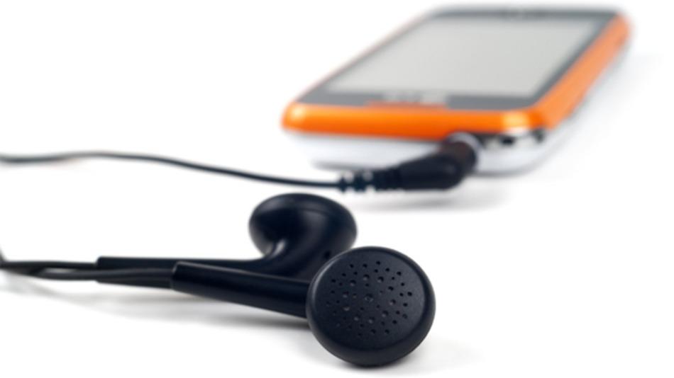 Telefon, okos, fülhallgató, zene