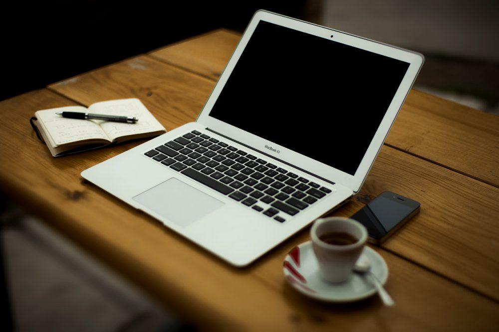 Tervez, kávé, laptop, internet, számítógép