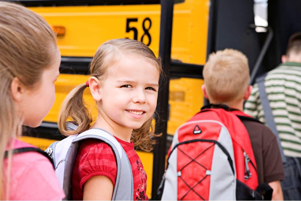 Busz, gyerek, utazás, iskola, iskolás, lány