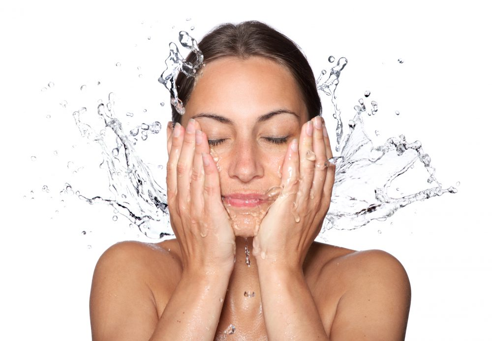 Nő, arc, mos, tiszta, lemosó