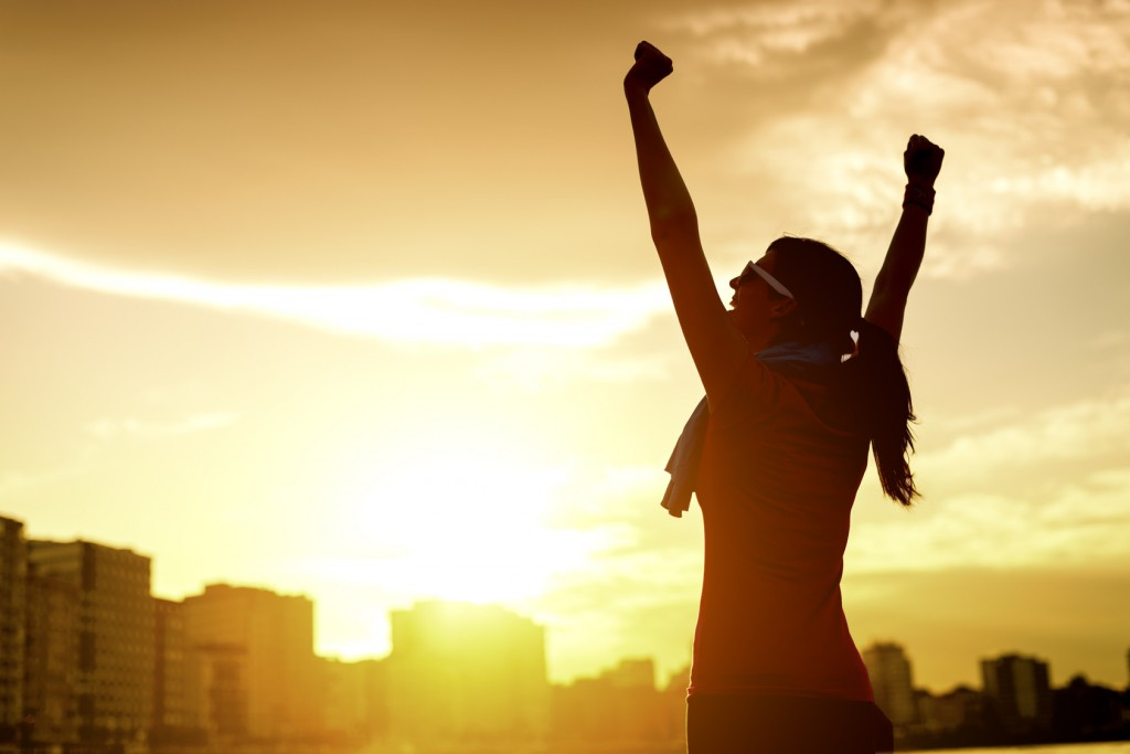 Nő, sport, nyer, győz, boldog