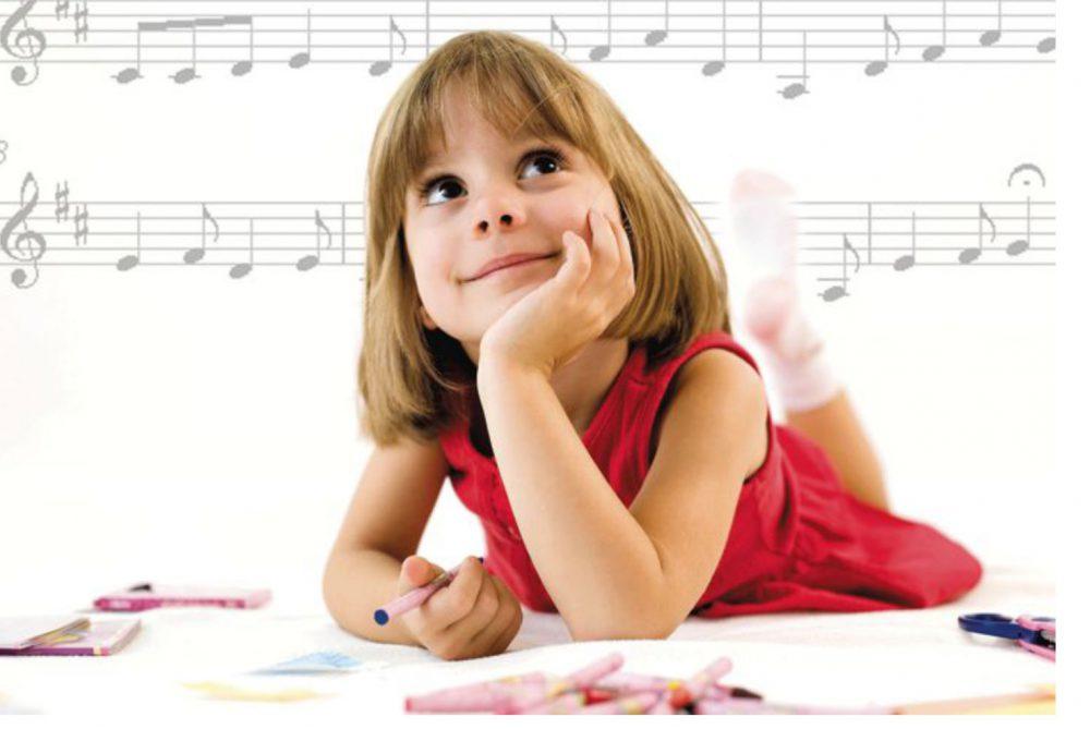Tanul, lány, gyerek, zene, gondol, memória
