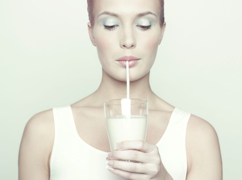 Tej, nő, iszik, tejzsír