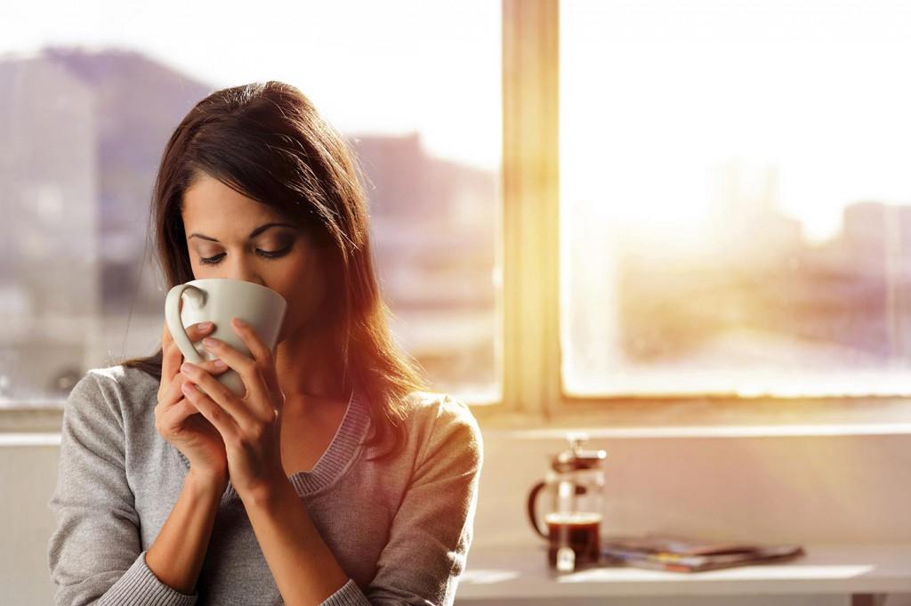 tea, kávé, iroda, dolgozik, munka, nő