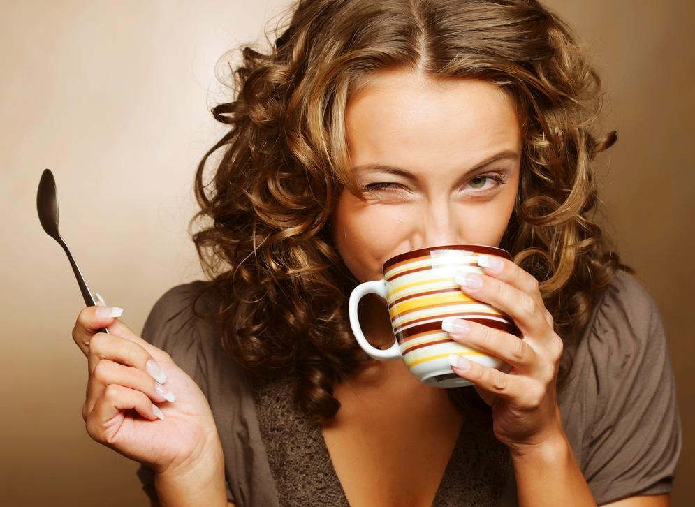 kávé, tea, nő, iszik, reggel, vidám