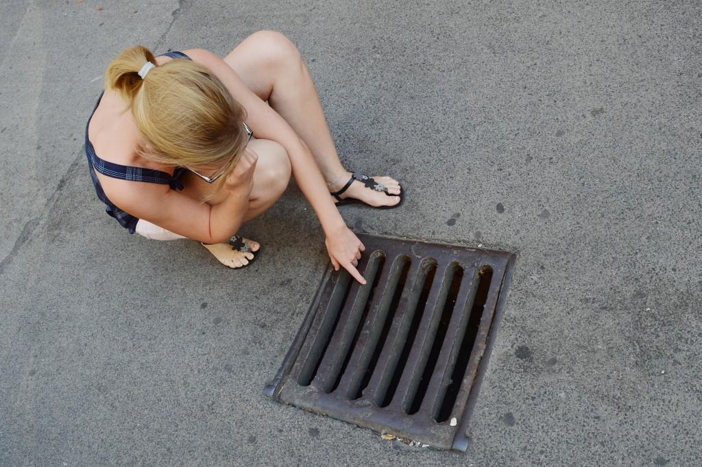 büdi a belvárosban, vízelvezető