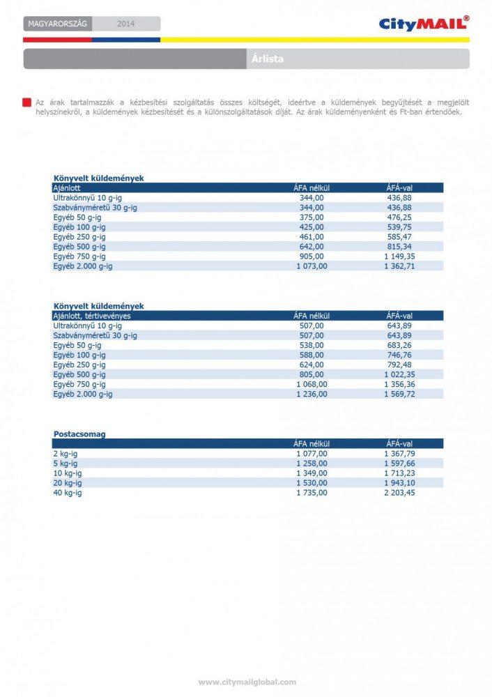 Árlista-könyvelt-küldemények-postacsomagok-20141