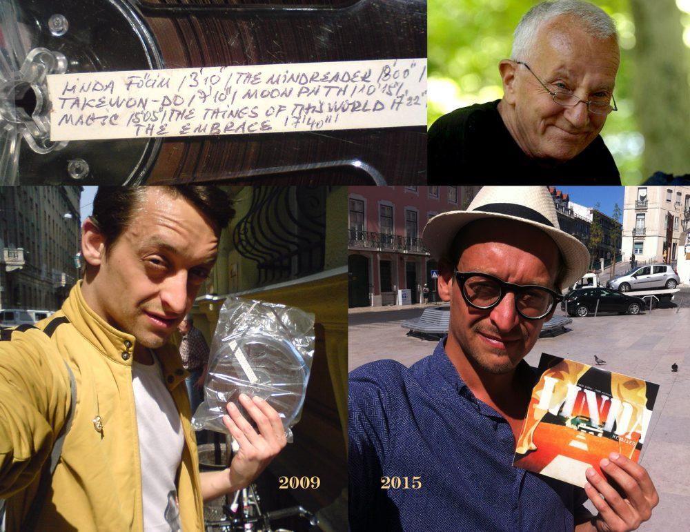 A DJ képe: a 2009-ben a Linda zenéjének szalagjával, 2015-ben a kész lemezzel, a sarokban pedig Vukán György