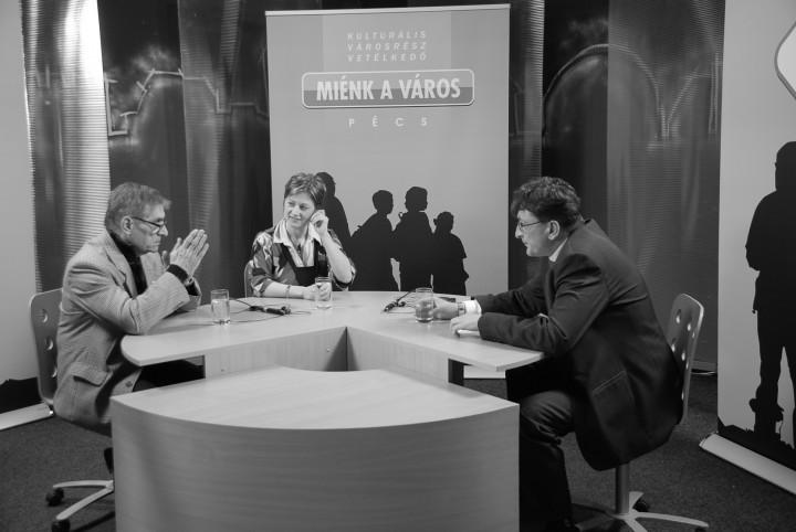 Mokos Tibor, a Pécs TV egykori főszerkesztője beszélget Nagy Sándorral és Bozóky Anitával a Pécs TV adásában
