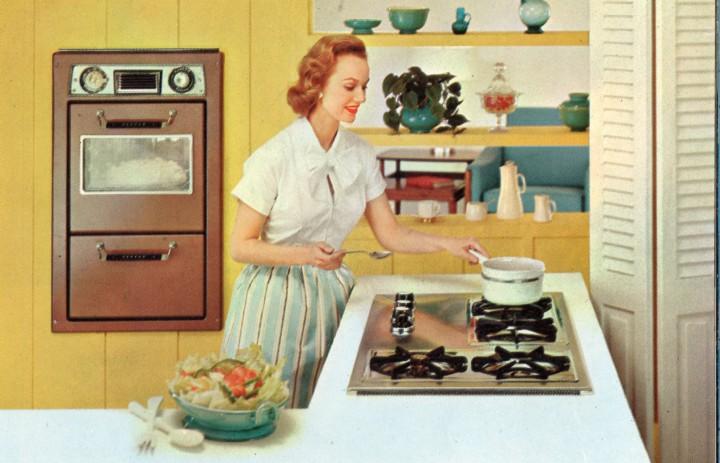 nő, housewife, konyha, women