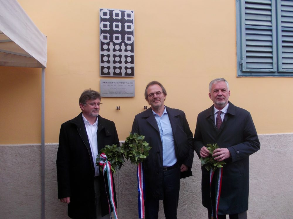 Vasarely munkássága előtt tisztelegnek (Csornay Boldizsár, Pierre Vasarely, Páva Zsolt)
