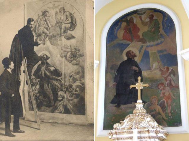 Készül a Xavér templom freskója - előtte és utána