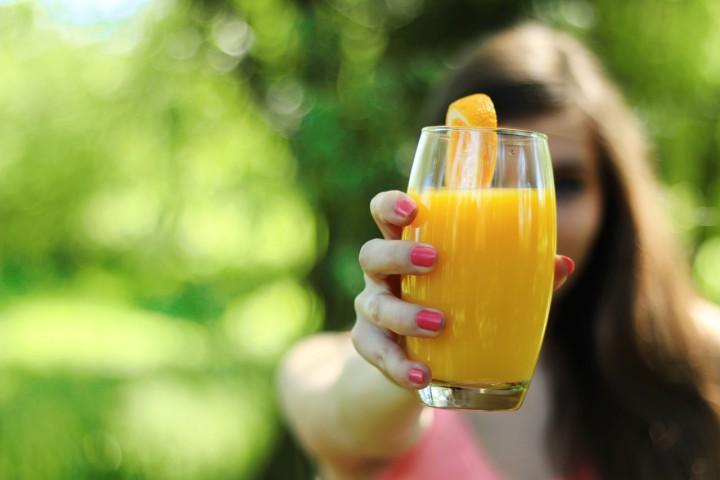 reggeli, narancslé, egészség, étel, ital, nő, friss