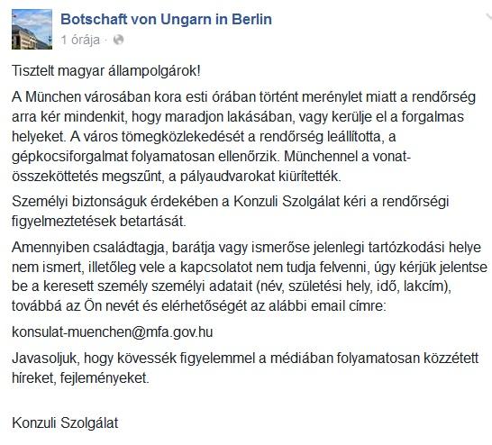 A Konzuli Szolgálat is figyelmeztet: Münchenben maradjon mindenki a helyén és kerülje a forgalmas helyeket