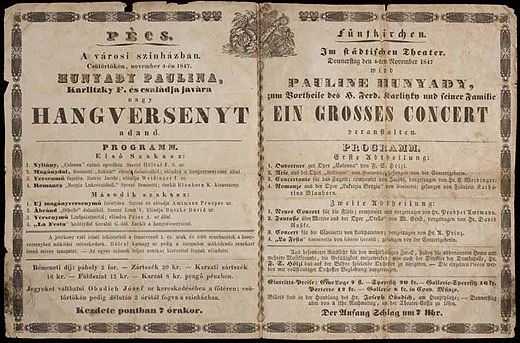 Egy magyar és német nyelvű pécsi színházi plakát 1847-ből