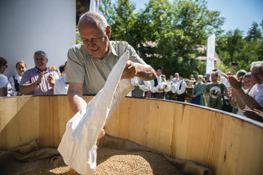 Korinek László, a program ötletgazdája búzát önt egy nagy dézsába a Magyarok kenyere program javára gyûjtött búza összeöntésekor az Orfûn rendezett ünnepségen 2016. augusztus 7-én. MTI Fotó: Sóki Tamás