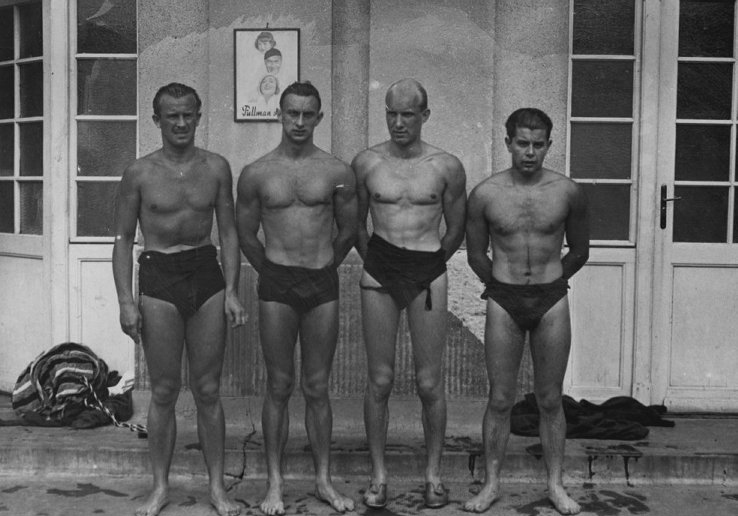 Szabados László, Csik Ferenc, Lengyel Árpád és Gróf Ödön, Pécs nagy úszói