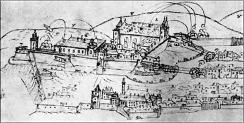 Ismeretlen rajzoló: A pécsi vár és környéke 1686-ban