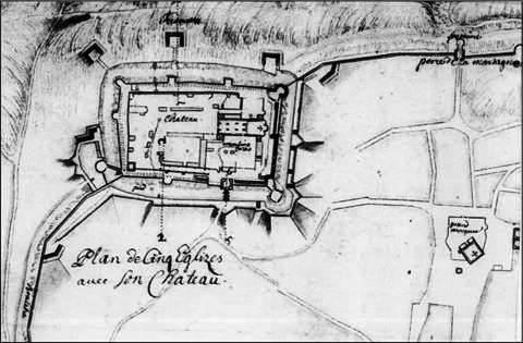 Josef de Haüy térképe 1689 körül - jól látszanak a megerősített bástyák és a kaputorony
