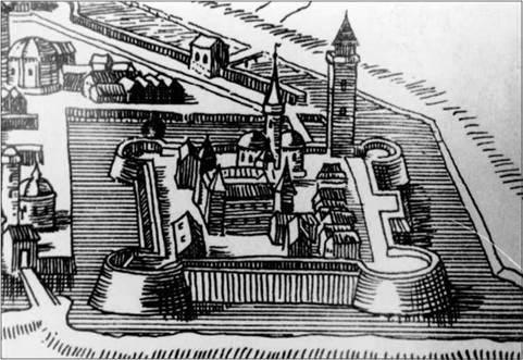 Metszet a 17. századi pécsi várról - amikor már törökök átformálták a püspökvárat