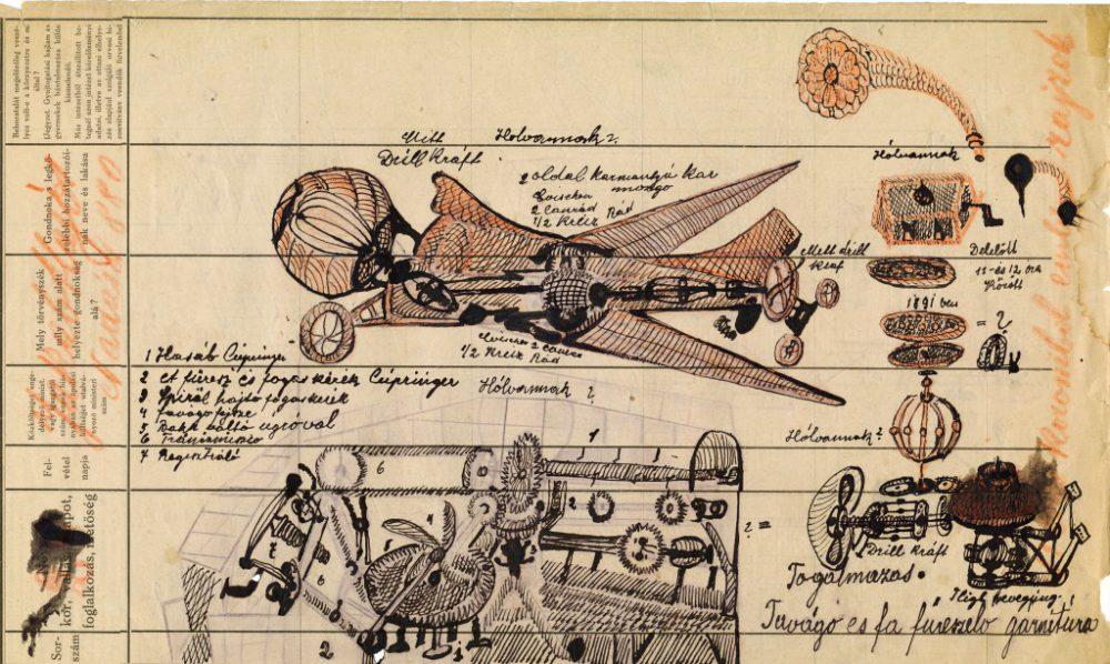 Egy favágógép tervrajza – J. A. szkizofréniás beteg munkája, aki 1910-től élt a pécsi, később pedig a lipótmezei pszichiátrián, ahol 1946-ban halt meg.