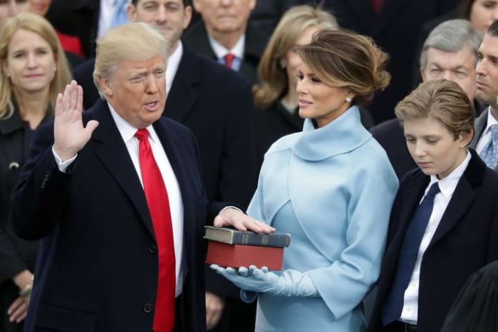 on the West Front of the U.S. Capitol on January 20, 2017 in Washington, DC. In today's inauguration ceremony Donald J. Trump becomes the 45th president of the United States.