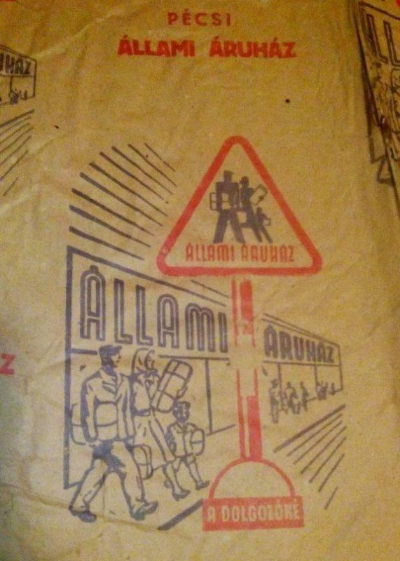 Az Állami Áruházban ilyen csomagolópapírt használtak az 1950-es években