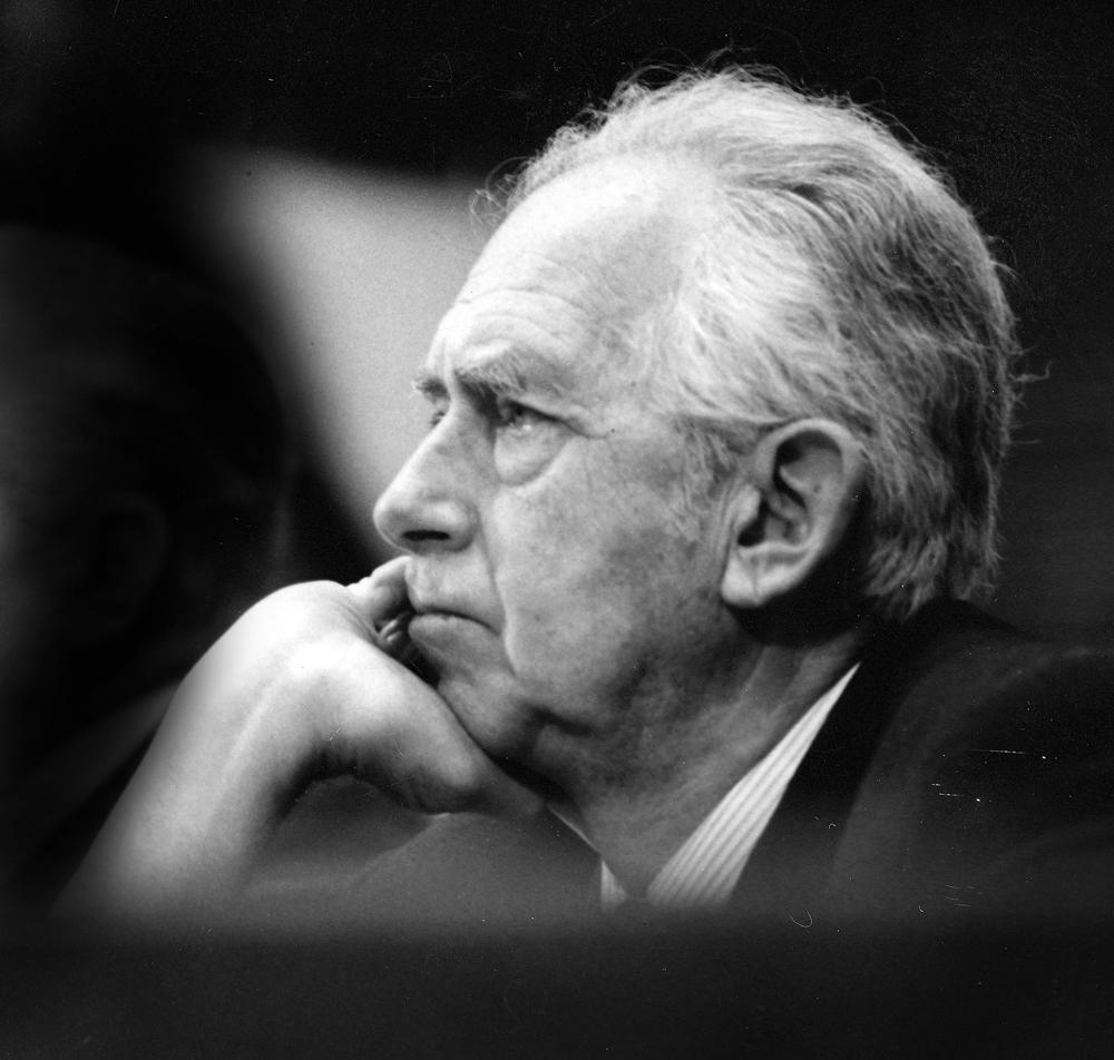 Eifert János: Dr. Szentágothay János professzor, az MTA elnöke a Hazafias Népfront országos közgyûlésén (Budapest, Építõk székháza, 1981. március 14.)