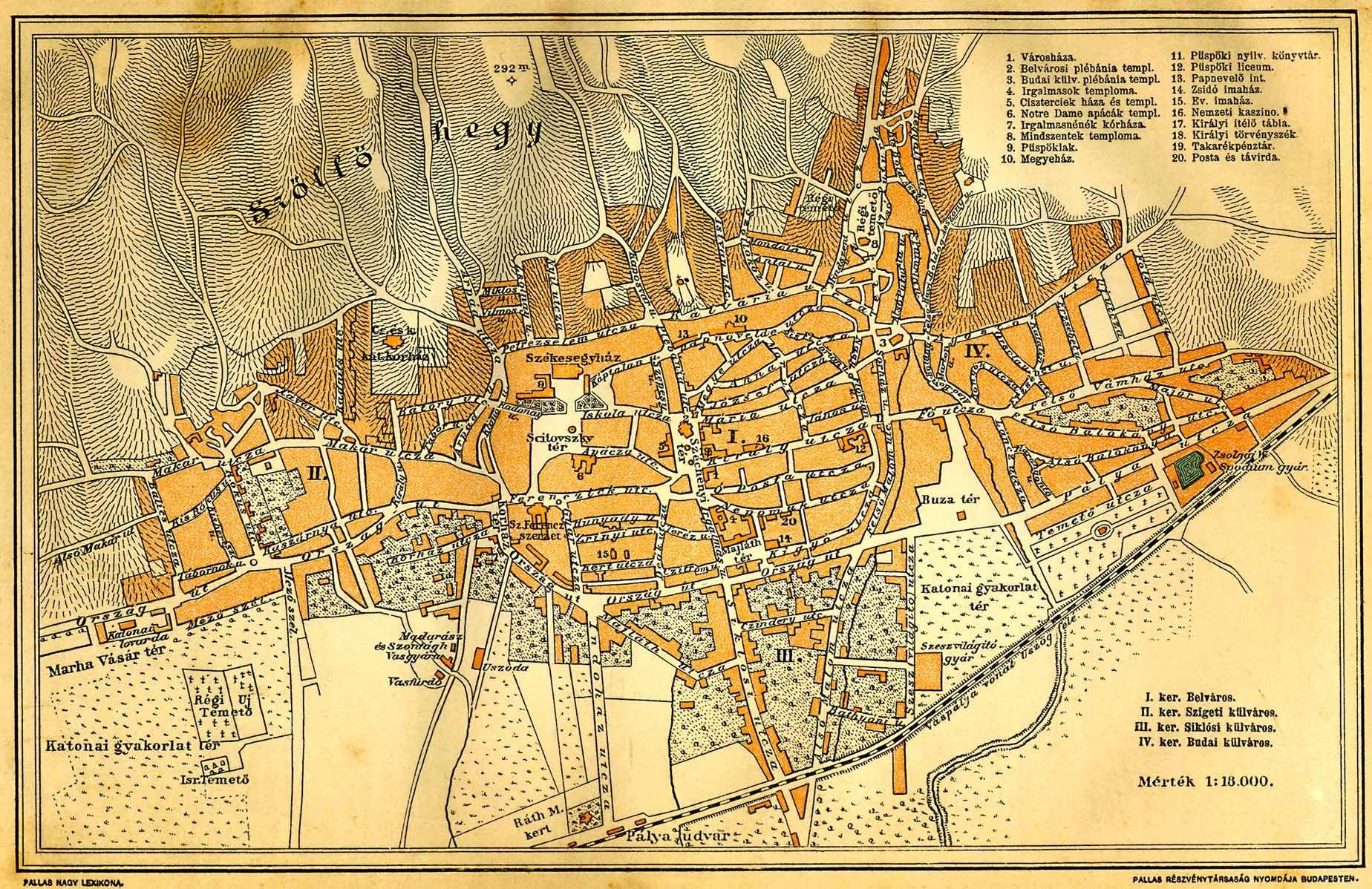 A 19. századi város kerületi felosztása