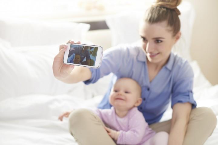baba, szelfi, fotó, gyerek, anya, család, fénykép