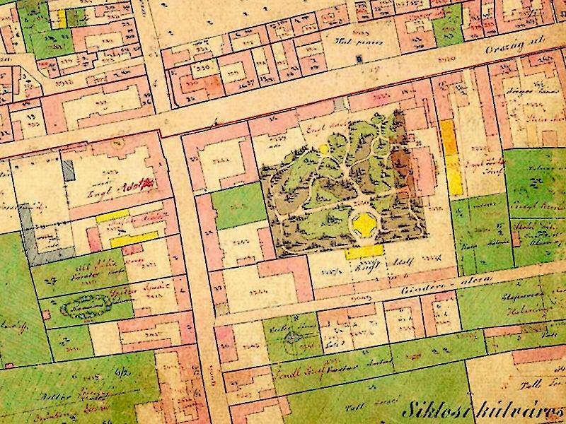 A kert az 1800-as évek második felében már be volt építve, de még működött (Forrás: Régi Pécs Blog)