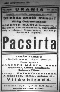 A pacsirta plakátja (Fotó: Hetedhéthatár)